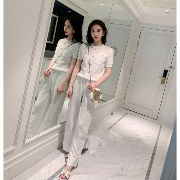 PRINSTORY 2019 Spring/Summer Gold Button Knitting Set White/M