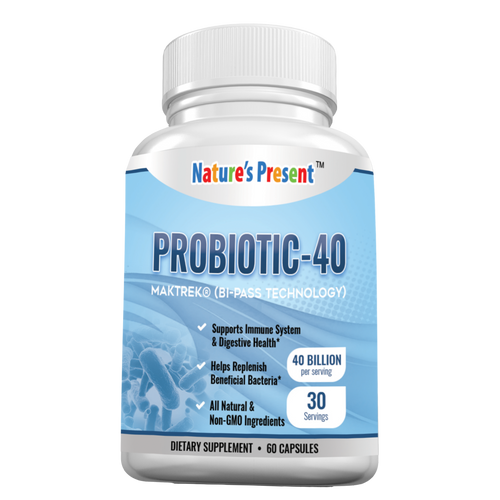 NATURE'S PRESENT 40 Billion Probiotic MARKET 3D Bi-Pass Technology Enhanced Formula 60 Capsules