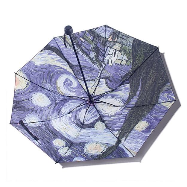商品详情 - 中国专线直邮 时效5-12天TIMESWOOD女士户外三折晴雨伞黑胶防紫外线遮阳伞 梵高星空内印 紫色 1件 - image  0