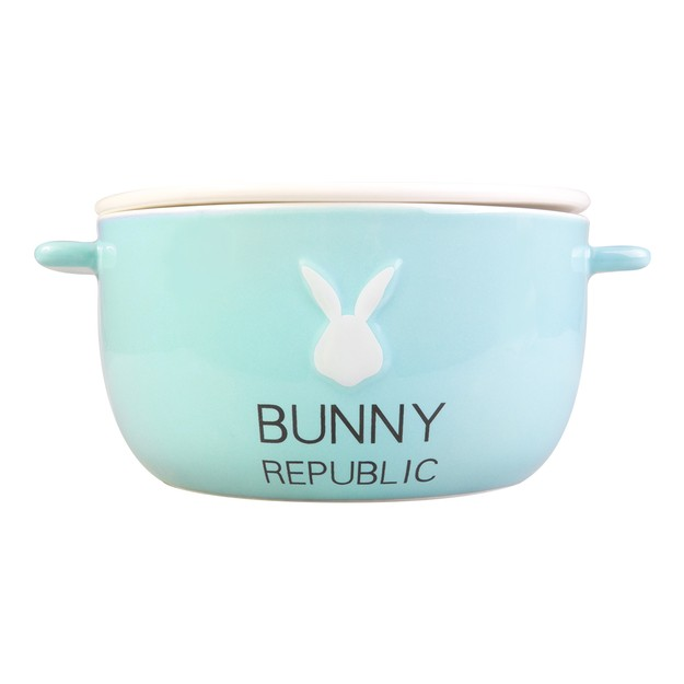 KINGBIRD Cute Fashion BABYBLUE Bunny Ceramics Bowl BUNNY REPUBLIC Microwave Safe