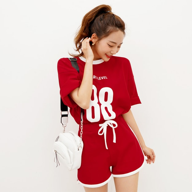 Product Detail - SSUMPARTY Oversized Printed Cotton T-Shirt+Drawstring Sweat Shorts #Red One Size(Free) - image 0