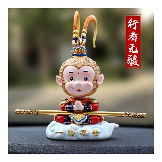 Product Detail - RAMBLE Sun Wu Kong New Funny Car Dashboard Toys Shake Head Dolls Monkey King Ornaments-Yi Lu Ping An 1pc - image 0