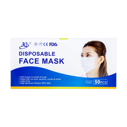 【FDA】3Q 3-ply Nonwoven With Ear Loops Face Masks Antibacterial Together BFE≥98% FDA & CE Certificates Latex Free