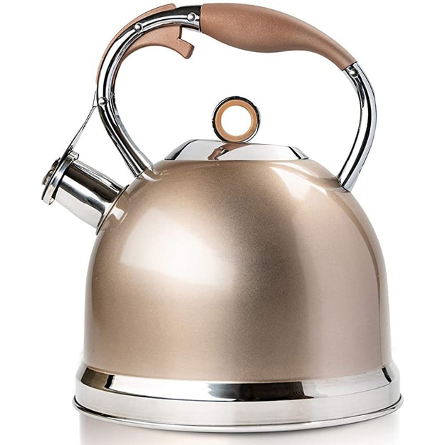 Product Detail - Cinderella selected whistle teapot electromagnetic induction stainless steel shell suitable for stove #Champagne Gold - image  0