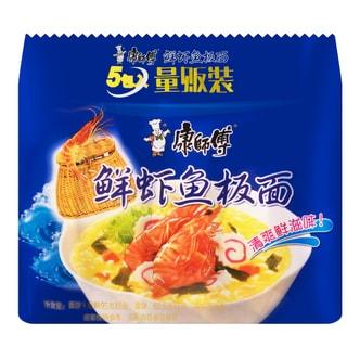 康师傅 鲜虾鱼板面 量贩装 5包入 475g