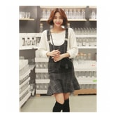 KOREA MAGZERO Plaid Overall Dress #Charcoal One Size(S) [Free Shipping]