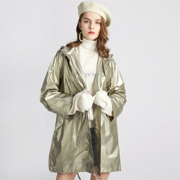 CARRIE&KATE【Designer Style】2019 Korea new Trend Golden Windbreaker Laser photosensitive hat long coat 【Tide】Golden/S