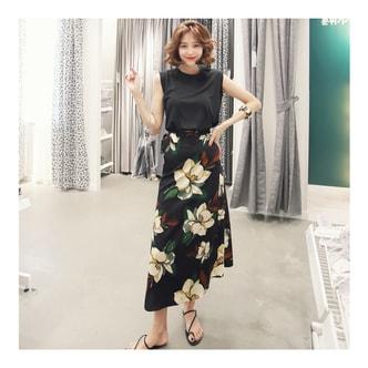 韩国正品 [免费配送] MAGZERO 亚米无袖上衣+碎花包裙两件套 One Size(S-M)