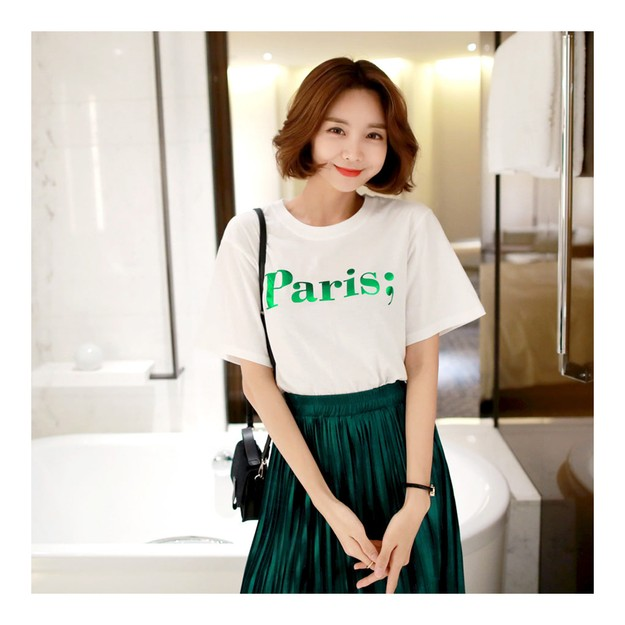 Product Detail - KOREA MAGZERO Paris Foil Letter T-Shirt #White+Green One Size(S-M) [Free Shipping] - image 0
