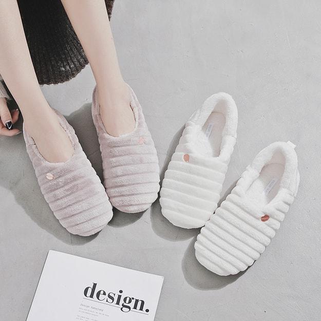 商品详情 - PREMIUM DOWN新款材质优质舒棉绒简约横条纹保暖防滑月子鞋 奶白色 38-39 - image  0