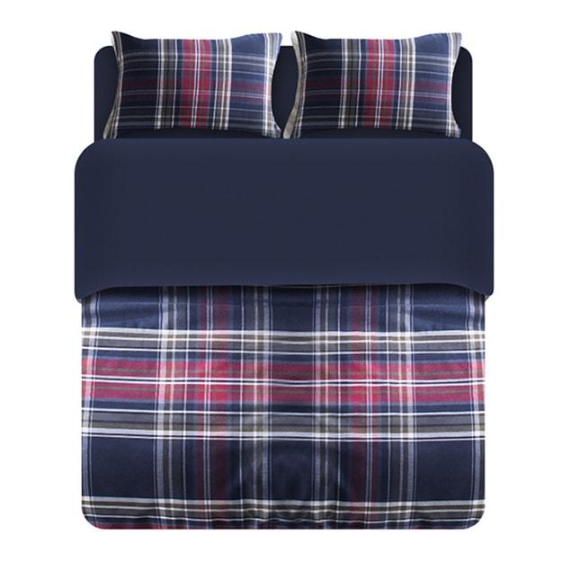 商品详情 - 苏宁极物 色织磨毛全棉四件套 200*230cm 红蓝色织格子 - image  0