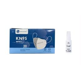 中国GREENCARE格林特卫 5层加护KN95 口罩20片+Gsol喷雾组合 可塑型鼻夹+舒适鼻垫+超声波加强筋