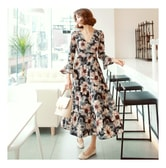 KOREA MAGZERO Floral Print Wrap Dress #Black One Size(S-M) [Free Shipping]