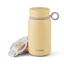 BUYDEEM Vacuum insulated stainless steel water bottle travel mug 300ml #light yellow 1pc