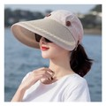 TIMESWOOD Detachable Empty Top Hat Visor Outdoor Big Beach Hat Summer Sun Hat Khaki 1PC
