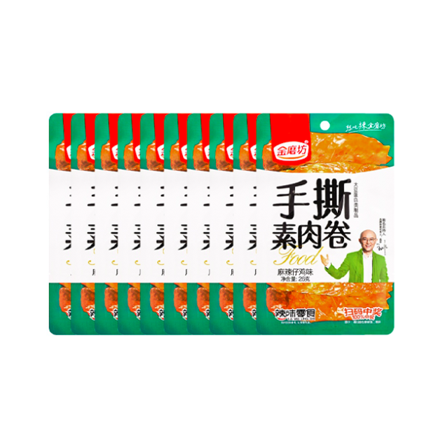 Product Detail - 【Value Pack】Shredded Vegetarian Meat Rolls Net Red Casual Snacks-Spicy Flavor 26g*10 - image  0