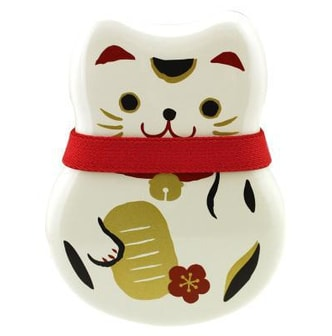 HAKOYA Two-Tiered Bento Box – White Maneki Neko Lucky Cat