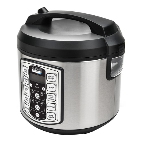 AROMA 20-Cup Digital Display Rice Cooker Slow Cooker and Food Steamer ARC-5000SB (5 Year Warranty)
