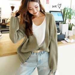 SSUMPARTY Cropped Open Cardigan #Khaki One Size(S-M)