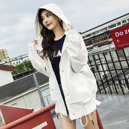 CARRIE&KATE【Designer Style】2019 New Spring and Summer  Casual hooded Korean edition Maiden style Loose jacket White/M