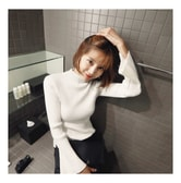 KOREA MAGZERO Mock-Neck Bell Sleeve Ribbed Knit Top Ivory One Size(S-M) [Free Shipping]