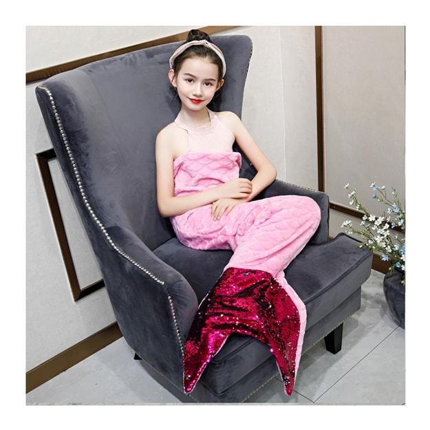 商品详情 - 【中国直邮】Merry Life 幻彩亮片美人鱼法兰绒毛毯(粉色) - image  0