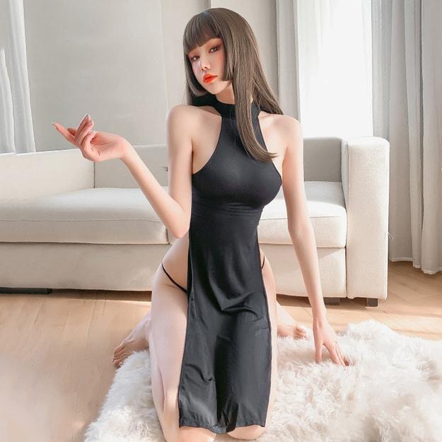 Product Detail - FEE ET MOI Ice silk swimming cloth hollow high waist split sexy cheongsam - image 0