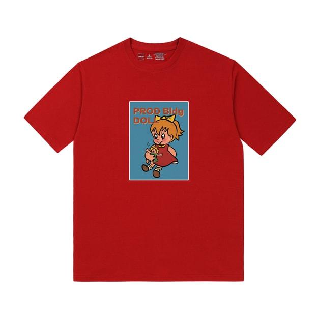 商品详情 - PROD复古娃娃宽松短袖T恤纯棉半袖初秋上衣红色L - image  0