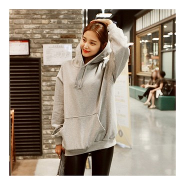 KOREA MAGZERO Oversized Pullover Hoodie Grey One Size(Free) [Free Shipping]