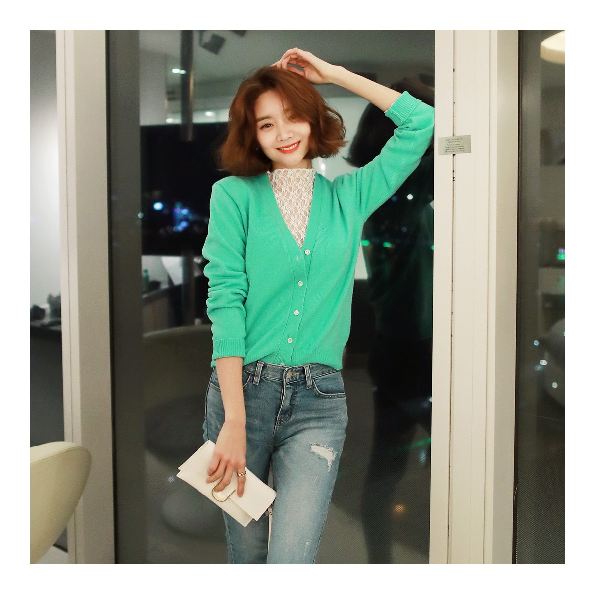 Yamibuy.com:Customer reviews:WINGS V-Neck Cropped Cardigan #Mint One Size(S-M)