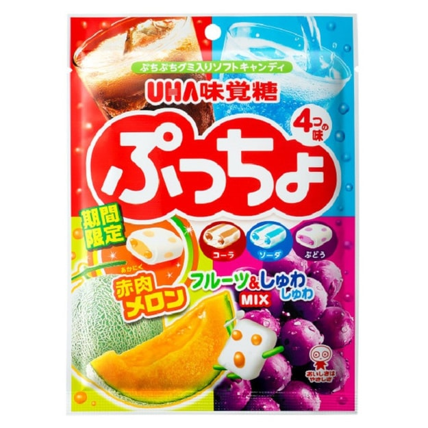 Product Detail - UHA Puccho Miracle  4 Flavor Mix Cola Ramune Soda Grape and Muscat 98g - image 0