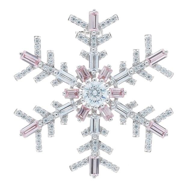 Product Detail - DE YEEN Classic Snowflake Brooch #Pink 1pc - image 0