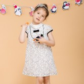 贝瑞英格小童蕾丝连衣裙  黑白 92