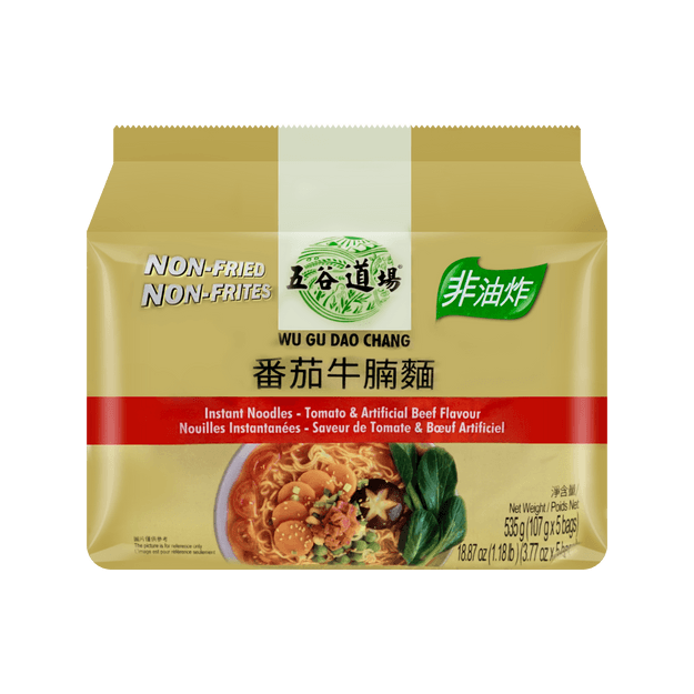 Product Detail - WUGUDAOCHANG Instant Noodles-Tomato & Artificial Beef Flavour (Bag) 107g*5Bags - image 0