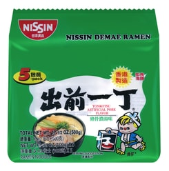 NISSIN Demae Ramen Noodle with Soup Base Tonkotsu Pork Flavor 500g