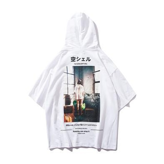 Product Detail - NIEPCE Ghost Girl Short Sleeve Hoodie White S 1 Piece - image 0