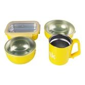 美国THINKBABY 宝宝不锈钢隔热餐具4件套 #黃色