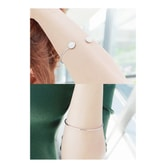 KOREA MAGZERO Two Gemstone Cuff Metal Bracelet Soft Pink [Free Shipping]