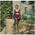 PRINSTORY 2019 Spring/Summer Red Sexy Swimsuit + Silky Coat M