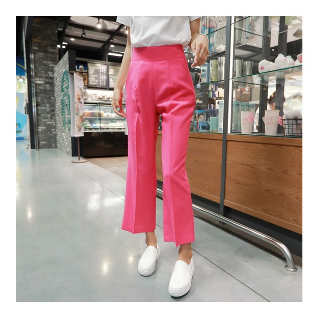 Product Detail - KOREA MAGZERO High Waist Career Suit Pants #Hot Pink L(28-29) [Free Shipping] - image 0