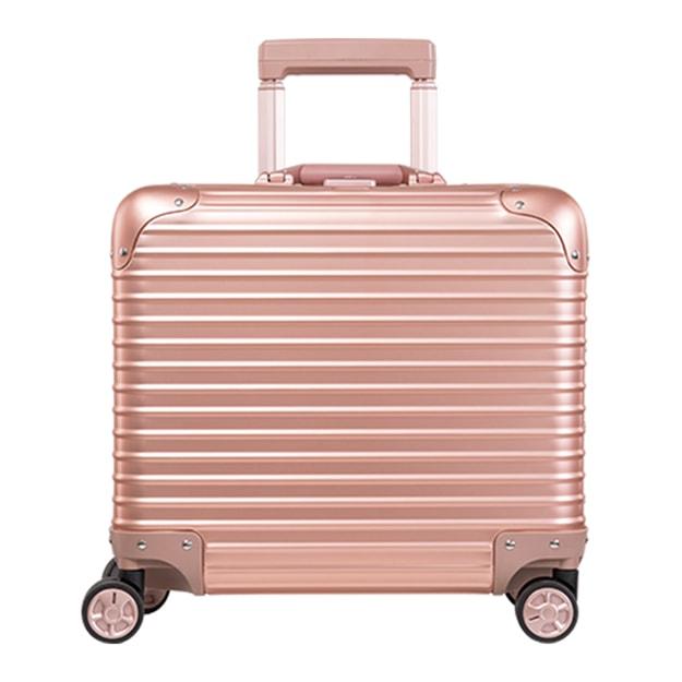 商品详情 - 苏宁极物 全铝镁合金金属万向轮拉杆箱 17寸 玫瑰金色 - image  0