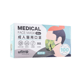 Disposable 3ply Adult Surgical Face Mask, 25pcs,17.5×9.5cm, Green, Made in Taiwan