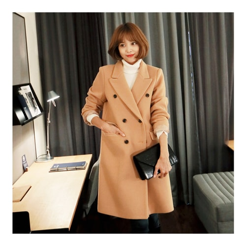 MAGZERO [Limited Quantity Sale] Double Breasted Long Coat Beige One Size(S-M)