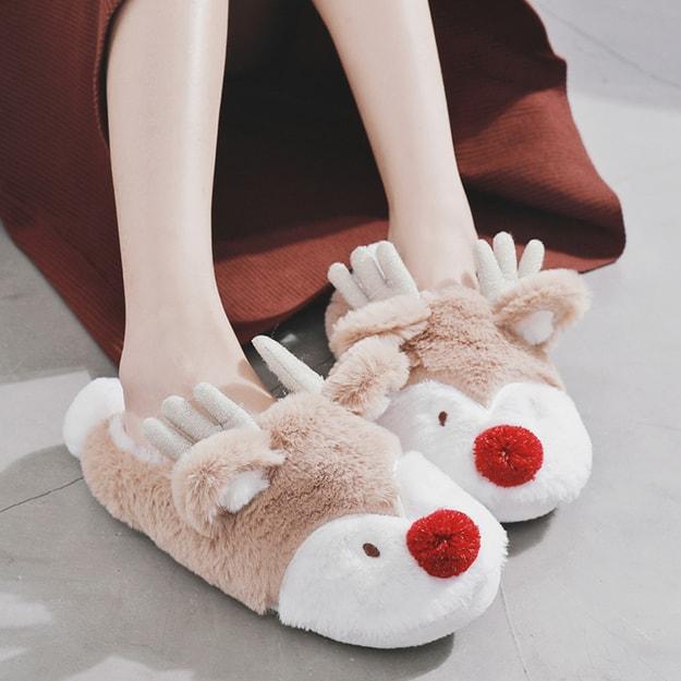 商品详情 - PREMIUM DOWN 圣诞小鹿冬季保暖包跟防滑橡胶底家居拖鞋 36-37 - image  0