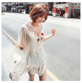 MAGZERO [Best Seller] Crochet Bell Sleeve Ruffle Blouse Beige One Size(S-M)