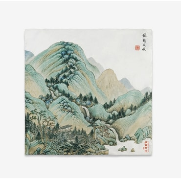 THE PALACE MUSEUM Cotton Satin Handkerchief #Mountains 2pcs