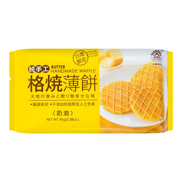 商品详情 - 台湾天鹏 纯手工格烧薄饼 奶油味 96g - image  0