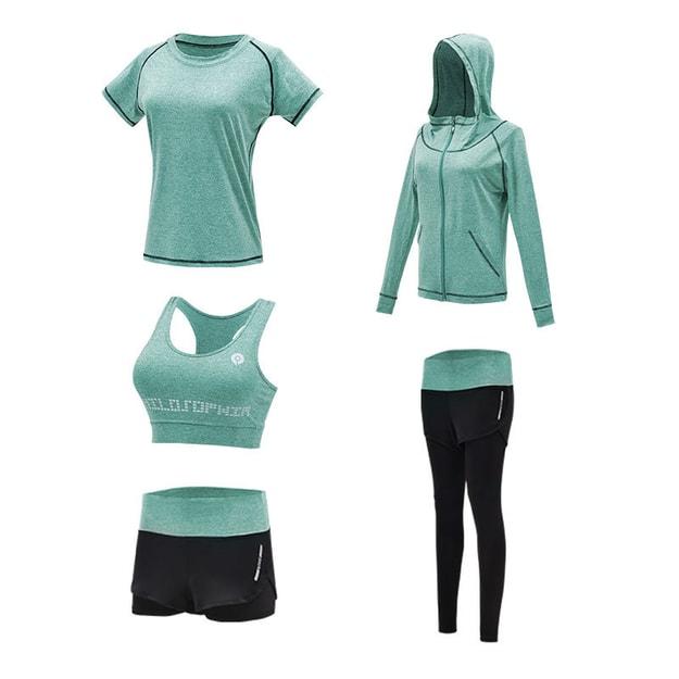 商品详情 - 浪莎新款浪莎瑜伽服五件套装速干衣晨跑服跑步健身运动套绿色S码 - image  0