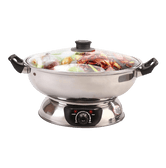 SONYA Electric Shabu Hot Pot with Divider Extra 6 Spider Strainer Ladles Included 30cm SYHS-30-S 5L