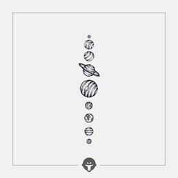 @BECOME Original Tattoo Stickers Nine Planets One Piece
